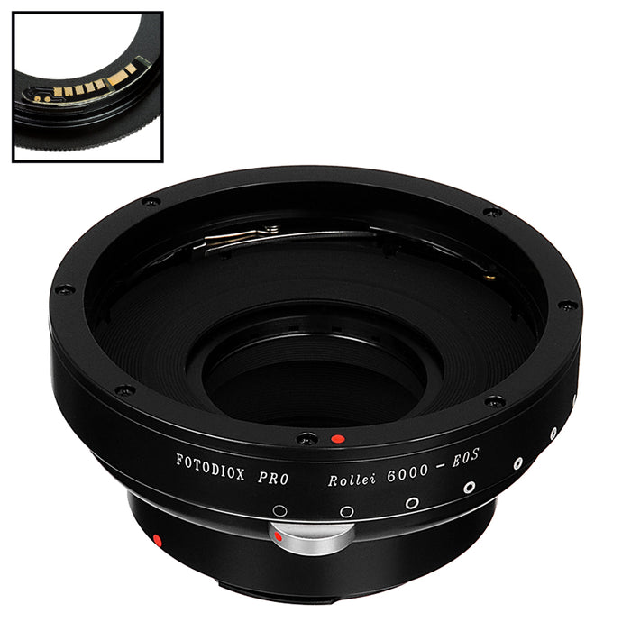 Fotodiox Pro Lens Mount Adapter Compatible with Rollei 6000 (Rolleiflex) Series Lenses to Canon EOS (EF, EF-S) Mount SLR Camera Body - with Generation v10 Focus Confirmation Chip and Built-In Aperture Iris