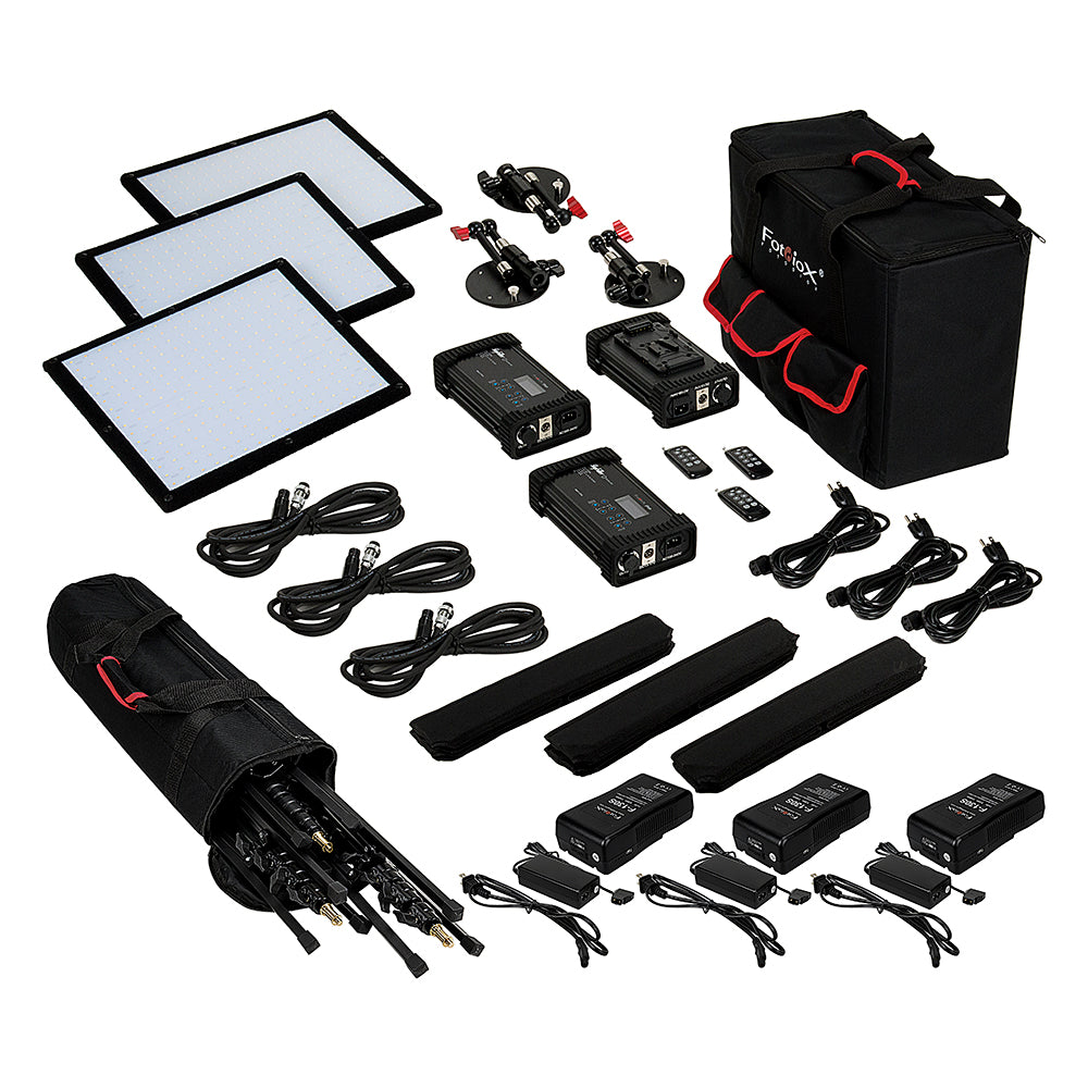 SkyFiller 1x1 Bicolor LED 3-Light Kit SF50DT 1x1 50w Bi-Color Powerful Ultra-Portable LED Lighting from Fotodiox