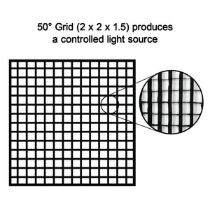 "Fotodiox Pro Eggcrate Grid for SkyFiller Wings 2x2 Lights - Fits SkyFiller Wings LED Lighting SFW-150SS/RGB - 2x2 Bi-Color & RGB+T Folding LED Panels - 50 Degree Grid (2x2x1.5"" Openings)"