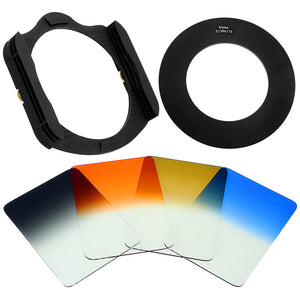 Fotodiox Pro 130mm Filter System Kit: 130mm Filter Holder, 4x 130mm Graduated Filters & Lens Adapter Ring - Compatible with Fotodiox Pro 130x175mm Filters and Cokin X-Pro (XL) Series Filters