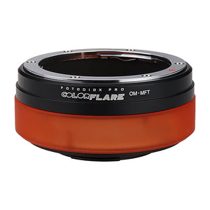 ArtFX ColorFlare Adapter for Olympus Zuiko (OM) 35mm SLR Lens to Micro Four Thirds (MFT, M4/3) Mount Mirrorless Camera Body- Light Leak / Flare Inducing Adapter from Fotodiox Pro **Clearance**