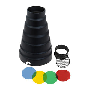 Fotodiox Snoot with 20 Degree Grid and 4 Color Gels for Elinchrom Strobe light Calumet Genesis Strobe Light