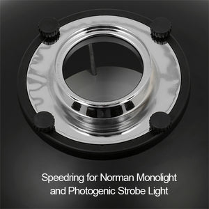 Fotodiox Pro Beauty Dish with Photogenic Speedring for Photogenic, Norman ML, and Compatible - All Metal, Soft White Interior
