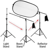 Heavy Duty, 3-in-1 Boom stand, Light Stand, and Reflector Holder