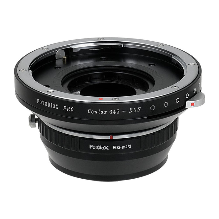 Fotodiox Pro Lens Mount Adapter - Contax 645 (C645) Mount Lenses to Micro Four Thirds (MFT, M4/3) Mount Mirrorless Camera Body with Built-In Aperture Iris