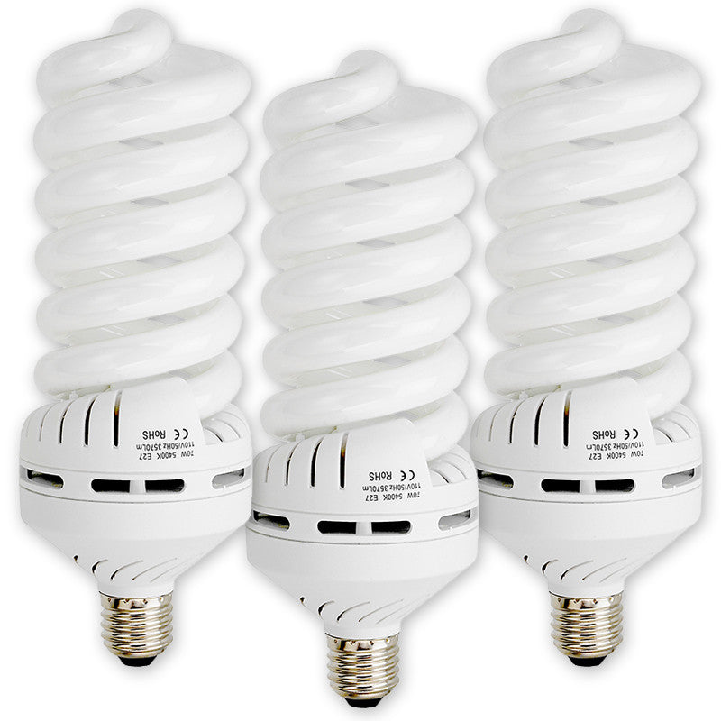 3x 70 Watt Daylight Compact Fluorescent (CFL) Light Bulbs, Set Of Three (3)    Full Spectrum (5400k CRI~90) Daylight White Light High Wattage Bulb,  Great For ...