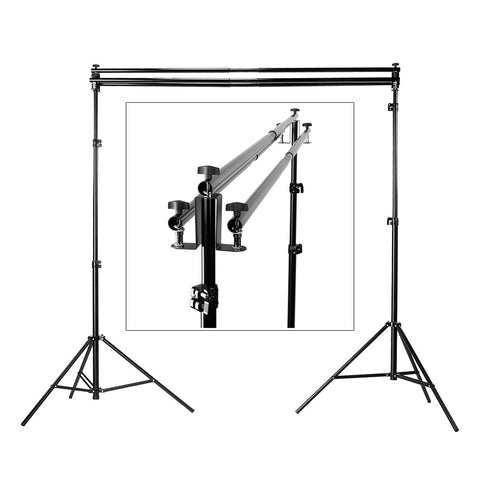 Fotodiox Triple Background Support Kit with 3x Crossbars, 2x Lightstands & Triple Bar Holder Brackets for Studio Backdrop Systems