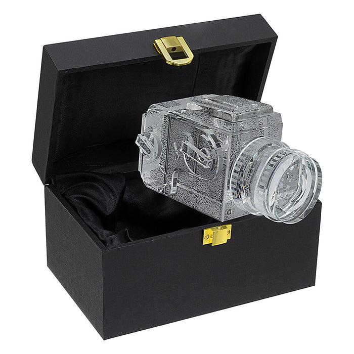 Fotodiox Crystal Camera - 2/3 Sized Replica of Hasselblad 503CM w/ 80mm f/2.8 CF Lens; Paperweight, Book Shelf, Bookends
