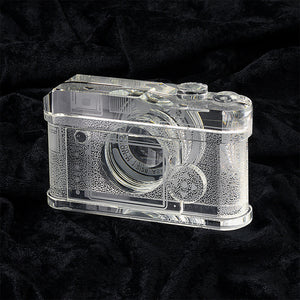 Fotodiox Crystal Camera - 2/3 Sized Replica of Leica M9 Camera w/ Summicron 28mm f/2 Lens; Paperweight, Book Shelf, Bookends