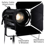 Fotodiox Pro DY-200w Tungsten Fresnel LED, High-Intensity LED Fresnel Light for Film & Television - with Remote Dimmable and Focusable Control, 12V AC Power Adapter, Light Stand bracket and Removable Barndoors, CRI > 85