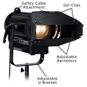 Fotodiox Pro DY-200 Tungsten Fresnel LED, High-Intensity LED Fresnel Light for Film & Television - with Remote Dimmable and Focusable Control, 12V AC Power Adapter, Light Stand bracket and Removable Barndoors
