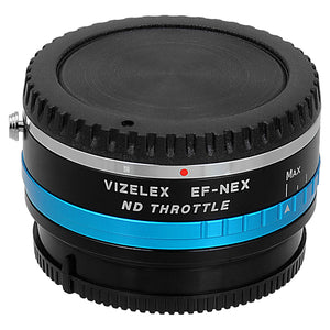 Vizelex ND Throttle Lens Mount Adapter - Canon EOS (EF / EF-S) D/SLR Lens to Sony Alpha E-Mount Mirrorless Camera Body with Built-In Variable ND Filter (1 to 8 Stops)