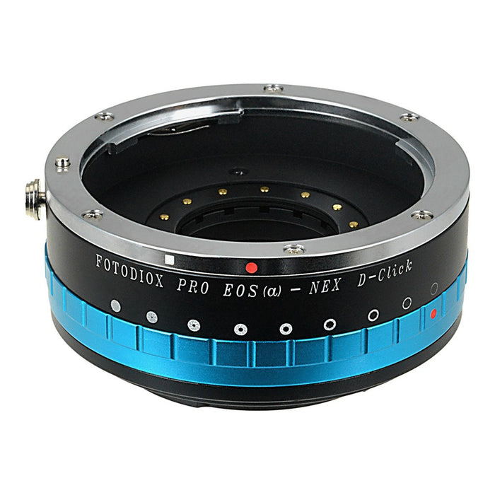 Fotodiox Pro Lens Mount Adapter - Canon EOS (EF Only) D/SLR Lens to Sony Alpha E-Mount Mirrorless Camera Body with Built-In Aperture Iris and Selectable Clicked / Declicked Aperture Control