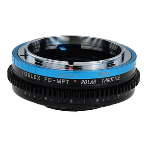 Vizelex Polar Throttle Lens Mount Adapter - Canon FD & FL 35mm SLR lens to Micro Four Thirds (MFT, M4/3) Mount Mirrorless Camera Body with Built-In Circular Polarizing Filter