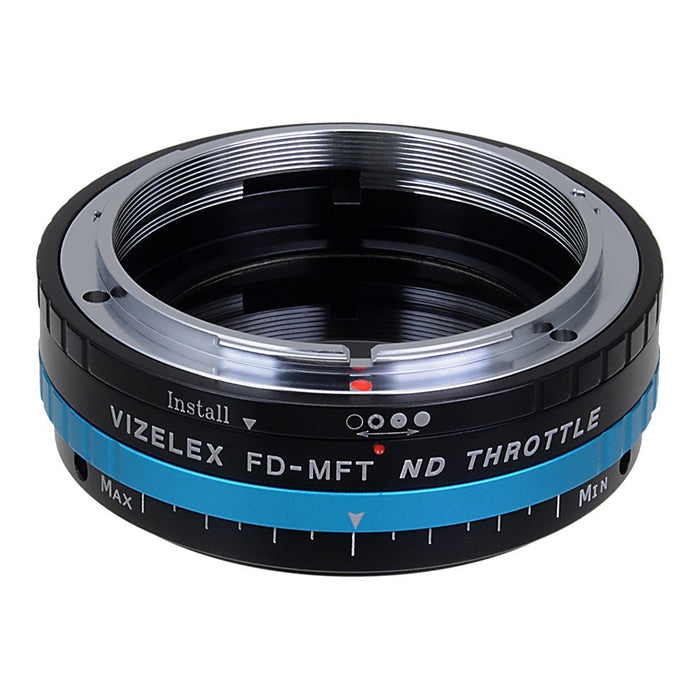 Vizelex ND Throttle Lens Mount Adapter - Canon FD & FL 35mm SLR lens to Micro Four Thirds (MFT, M4/3) Mount Mirrorless Camera Body with Built-In Aperture Control Dial and Variable ND Filter (1 to 8 Stops)