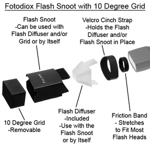 Fotodiox Flash Snoot with 10 Degree Grids for Speedlite Flash - Including Nikon, Canon, Vivitar, Sunpak, Nissin, Sigma, Sony, Pentax, Olympus, and Panasonic Speedlight Flashes