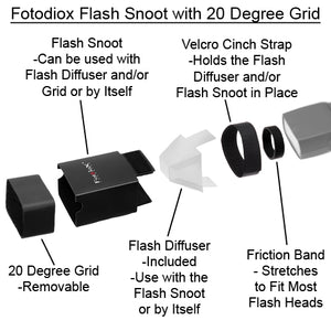 Fotodiox Flash Snoot with 20 Degree Grids for Speedlite Flash - Including Nikon, Canon, Vivitar, Sunpak, Nissin, Sigma, Sony, Pentax, Olympus, and Panasonic Speedlight Flashes