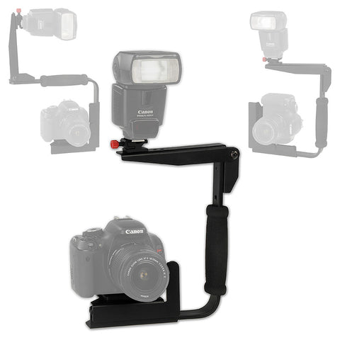 Fotodiox 35mm SLR/DSLR Camera Rotating and Flash-Flip Camera Flash Bracket - For Nikon, Canon, Pentax, Olympus, Sony, Fujifilm, Leica, Minolta