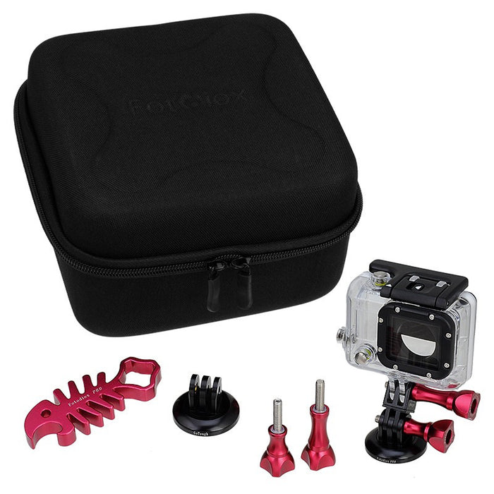 Fotodiox Pro GoTough CamCase Double Kit with Select Accessories - GoTough Carrying and Travel Case for Two GoPro Cameras & Accessories (choose from 5 colors) fits All GoPro HERO Action Cameras