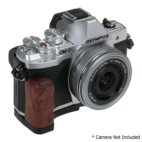 deluxe all metal black camera hand grip for olympus om d e m10 mark