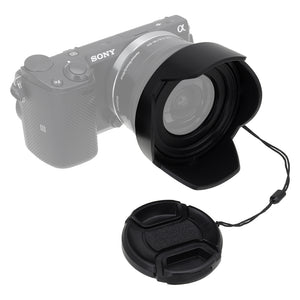 Fotodiox Reversible Lens Hood Kit with Cap - Reversible Tulip Flower Hood w/Cap for Kit Lenses with 37, 40.5, 43, 46, 49, 52mm Threads