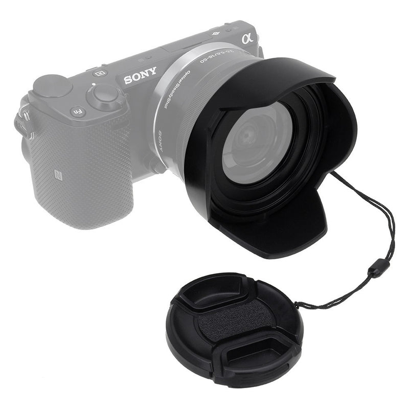 Flower Design 58mm Sony HDR-CX675 Pro Digital Lens Hood Nwv Direct Microfiber Cleaning Cloth. + Stepping Ring 46-58mm