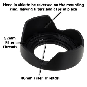 Fotodiox Reversible Lens Hood Kit for Lumix G Vario 14-42mm f/3.5-5.6 II APSH. MEGA O.I.S. Kit Lens, Reversible Tulip Flower Hood w/Cap f/MFT Kit Lenses