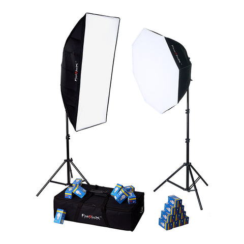Fotodiox LED-955 Compact Studio Continous LED Softbox Lighting Kit for Film, Video and Photography; 2-Light Fixture 324w Kit - Includes 2x (9-Bulb) Light Fixtures, 2x Stands, 85cm & 50cm x 120cm Softboxes, 18x 18w LED Bulbs & Carrying Case