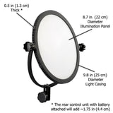 Fotodiox Pro FlapJack LED C-300RS Edge Light - 10in Round Ultra-thin, Ultrabright, Dual Color LED Photo/Video Light Kit