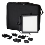 Fotodiox Pro FlapJack LED C-518ASV Bicolor Edge Light - 11.5x11.5-Inch Ultra-thin 1x1 Light, Ultra-bright Professional Dual Color (Daylight/Tungsten) LED, Dimmable Photo/Video Light Kit with Case, Battery and Charger