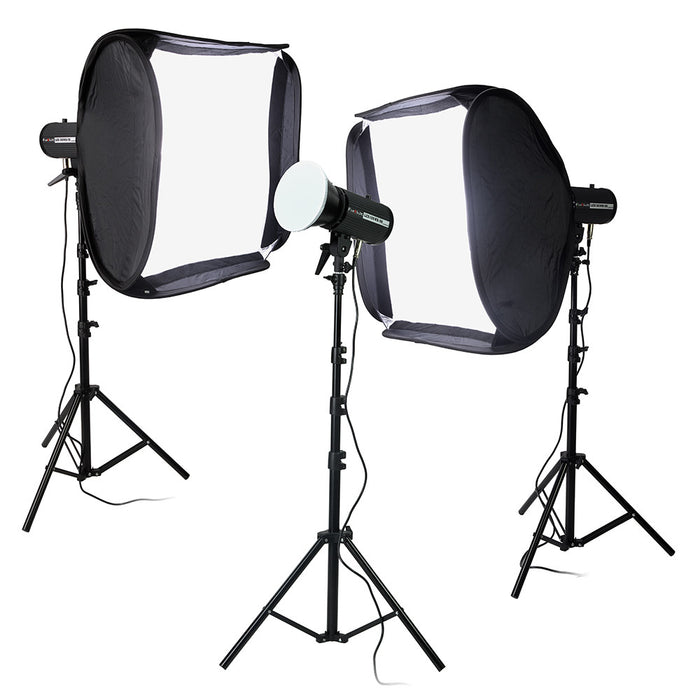 "Fotodiox Pro LED-100WB-56 Studio LED Kit with 20x20"" Softboxes - Set of 3x High-Intensity Daylight LED 5600k Studio Lights for Still and Video with Lightstands and Rolling Case - Dimmable Control, CRI ≥ 95"