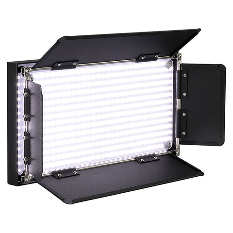 Fotodiox Pro LED-508A, Professional 508-LED Daylight Dimmable Photo/Video Light Kit with included Barndoor, Batteries and Charger