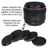 CraftMaster LenzCoaster – Premium Quality Camera Lens Replica that doubles as set of 5 drink coasters with silicone padding