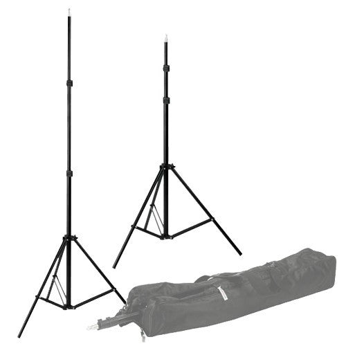 "Fotodiox Compact Light Stand Set, Set of two 6'6"" Stands with Spring Cushion for Studio Strobe and Lighting Fixtures w/ Carrying Case"