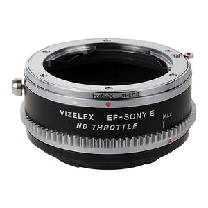 Vizelex Cine ND Throttle Lens Mount Double Adapter - Leica R SLR & Canon EOS (EF, EF-S) Mount Lenses to Sony Alpha E-Mount Mirrorless Camera Body with Built-In Variable ND Filter (1 to 8 Stops)