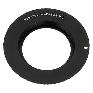 Fotodiox Lens Mount Adapter Compatible with M42 Type 2 Screw Mount SLR Lens to Canon EOS (EF, EF-S) Mount SLR Camera Body - with Generation v10 Focus Confirmation Chip