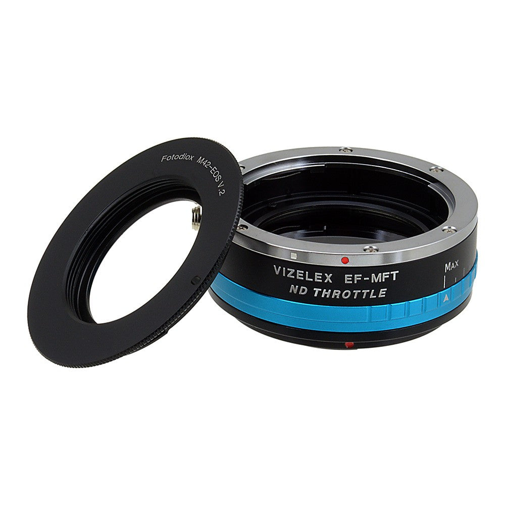 M42 Screw Mount SLR Lens to Micro Four Thirds (MFT, M4/3) Mount Mirrorless Camera Body Adapter, with Built-In Variable ND filter