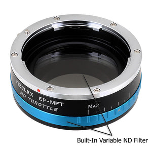 Vizelex ND Throttle Lens Mount Adapter - M42 Type 1 & 2 (42mm x1 Screw Mount) Lens to Micro Four Thirds (MFT, M4/3) Mount Mirrorless Camera Body with Built-In Variable ND Filter (1 to 8 Stops)