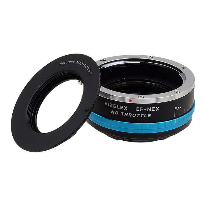 Vizelex ND Throttle Lens Mount Adapter - M42 Type 1 & 2 (42mm x1 Screw Mount) to Sony Alpha E-Mount Mirrorless Camera Body with Built-In Variable ND Filter (1 to 8 Stops)