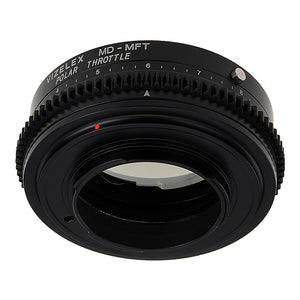 Vizelex Polar Throttle Lens Mount Adapter - Minolta Rokkor (SR / MD / MC) SLR Lens to Micro Four Thirds (MFT, M4/3) Mount Mirrorless Camera Body with Built-In Circular Polarizing Filter