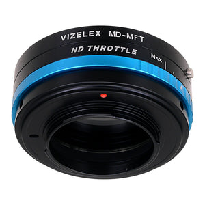 Vizelex ND Throttle Lens Mount Adapter - Minolta Rokkor (SR / MD / MC) SLR Lens to Micro Four Thirds (MFT, M4/3) Mount Mirrorless Camera Body with Built-In Variable ND Filter (1 to 8 Stops)