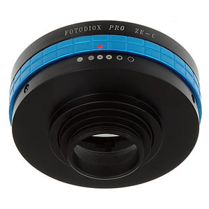 "Fotodiox Pro Lens Adapter - Compatible with Mamiya 35mm (ZE) SLR Lenses to C-Mount (1"" Screw Mount) Cine & CCTV Cameras with Built-In Aperture Control Dial"