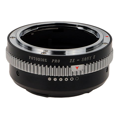 Fotodiox Pro Lens Mount Adapter - Mamiya 35mm (ZE) SLR Lens to Sony Alpha E-Mount Mirrorless Camera Body with Built-In Aperture Control Dial