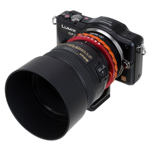 Fotodiox DLX Lens Mount Adapter - Nikon Nikkor F Mount G-Type D/SLR Lens to Micro Four Thirds (MFT, M4/3) Mount Mirrorless Camera Body, with Long-Throw De-Clicked Aperture Control