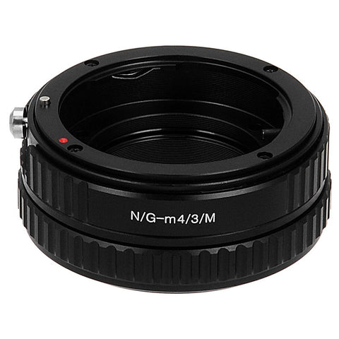 Nikon G SLR Lens to Micro Four Thirds (MFT, M4/3) Mount Mirrorless Camera Body Adapter, with Aperture Control Dial, and Macro Focusing Helicoid