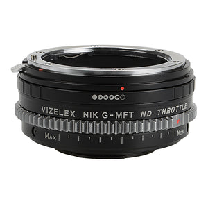 Vizelex ND Throttle Lens Mount Adapter - Nikon Nikkor F Mount G-Type D/SLR Lens to Micro Four Thirds (MFT, M4/3) Mount Mirrorless Camera Body with Built-In Aperture Control Dial and Variable ND Filter (1 to 8 Stops)