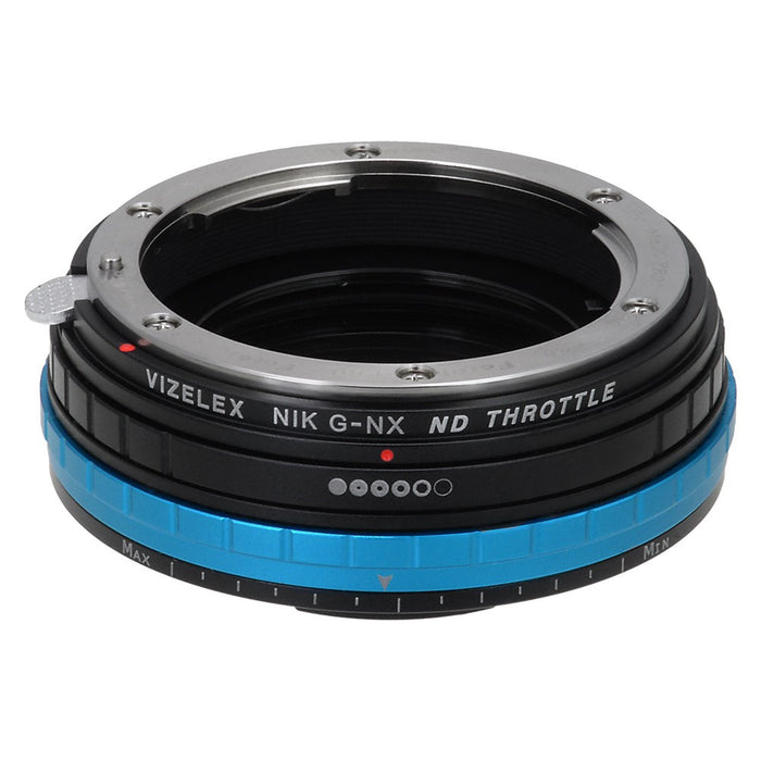 Vizelex ND Throttle Lens Mount Adapter - Nikon F Mount G-Type D/SLR Lens to Samsung NX Mount Mirrorless Camera Body with Built-In Variable ND Filter (1 to 8 Stops)