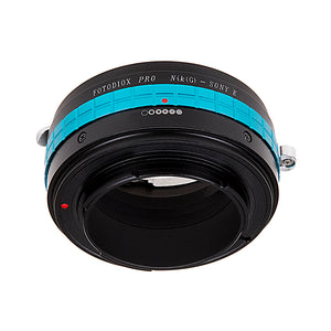 Fotodiox Pro Lens Mount Adapter - Nikon Nikkor F Mount G-Type D/SLR Lens to Sony Alpha E-Mount Mirrorless Camera Body with Selectable Clicked / Declicked Aperture Control