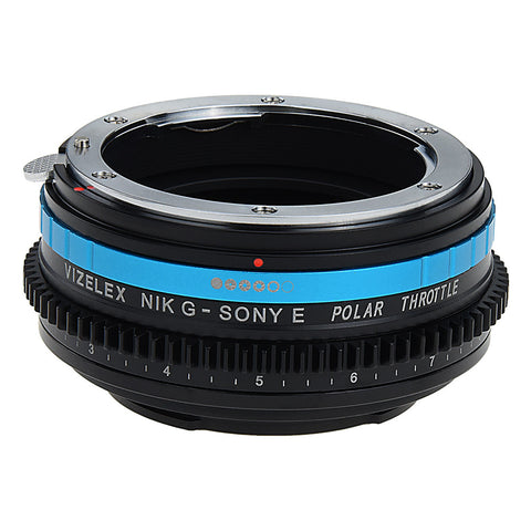 Vizelex Polar Throttle Lens Mount Adapter - Nikon Nikkor F Mount G-Type D/SLR Lens to Sony Alpha E-Mount Mirrorless Camera Body with Built-In Circular Polarizing Filter