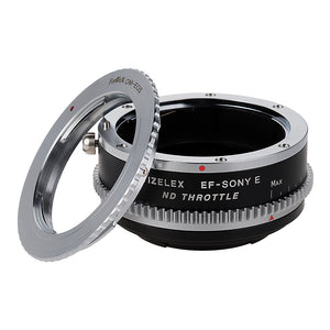 Vizelex Cine ND Throttle Lens Mount Double Adapter - Olympus Zuiko (OM) 35mm SLR & Canon EOS (EF, EF-S) Mount Lenses to Sony Alpha E-Mount Mirrorless Camera Body with Built-In Variable ND Filter (1 to 8 Stops)